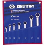Комплект комбинированных трещоточных ключей, 10-19 мм, чехол из теторона, 7пр