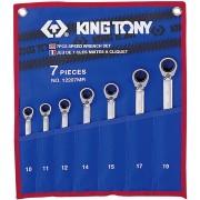 Комплект комбинированных трещоточных ключей с флажком, 10-19 мм, чехол из теторона, 7пр