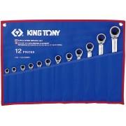 Комплект комбинированных трещоточных ключей с флажком, 8-24 мм, чехол из теторона, 12пр