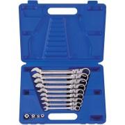 Комплект комбинированных трещоточных ключей с шарниром, 8-19 мм, кейс, 13пр