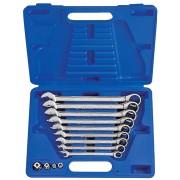 Комплект комбинированных трещоточных ключей с флажком, 8-19 мм, кейс, 13пр