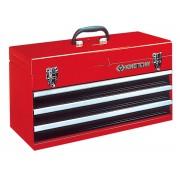 Ящик инструментальный, 3 полки и отсек, красный