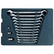 Комплект комбинированных ключей с трещоткой 15 пр