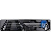 Комплект комбинированных ключей и шестигранников в лотке 6-16 мм